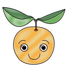 Colored crayon silhouette of happy cartoon orange vector