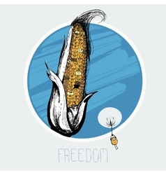 Corn on the freedom of flying on a dandelion seed vector