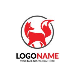 creative fox with circle logo template vector image