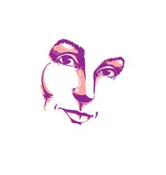 creative hand-drawn art portrait of white-skin vector image