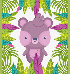 cute animals little bear leaves foliage nature vector image