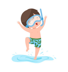 Cute boy jumping in water in diving mask kids vector