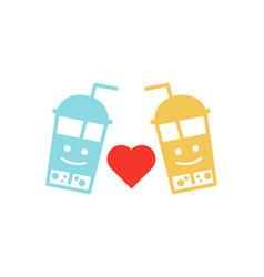 cute couple bubble milk ice teas in plastic vector image