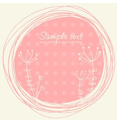 Cute sketch flower retro postcard vector