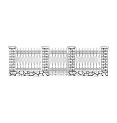 decorative stone and metal fences vector image
