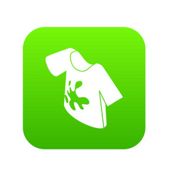 Dirty tshirt icon green vector