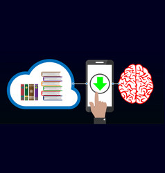 Download knowledge from cloud to brain with mobile vector