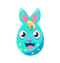 Easter Egg Shaped Blue Polka-Dotted Easter Bunny vector