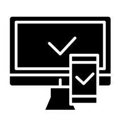 electronic devices with approval solid icon vector image