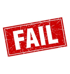 Fail red square grunge stamp on white vector