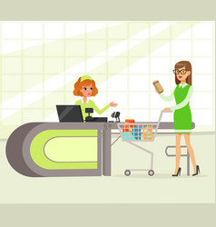 female cashier and buyer paying for purchases vector image