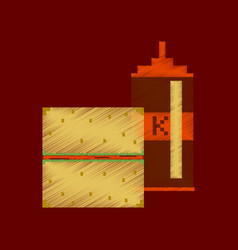 Flat shading style icon pixel burger and ketchup vector