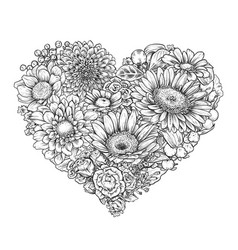 Floral heart bouquet with hand drawn spring vector