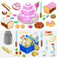 Food Set Candy and Dairy 3D Isometric vector