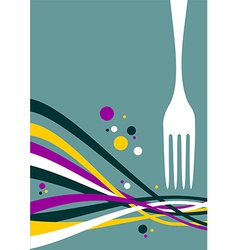 Fork with multicolored waves background vector