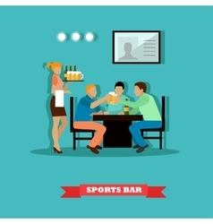 Friends drinking beer and watch a game in sport vector