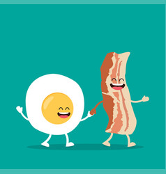 funny characters egg and bacon vector image