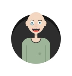 Funny hobo in black circle vector