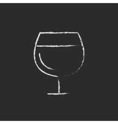 Glass of wine icon drawn in chalk vector