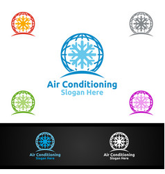Global snow air conditioning and heating services vector