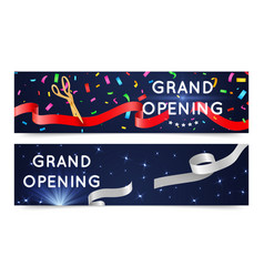 Grand open banners opening ceremony ribbons vector