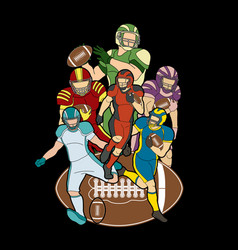 group of american football player sportsman vector image