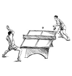 Hand sketch table tennis players vector