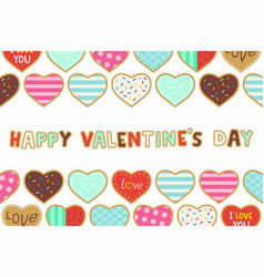 happy valentines day background with heart shaped vector image