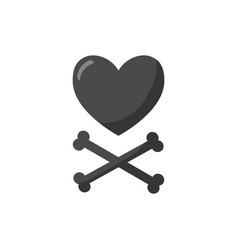 heart and crossbones flat icon vector image