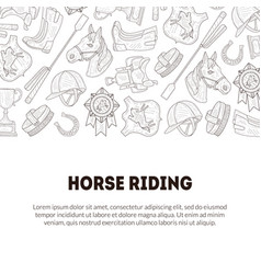 Horse riding banner template with place for text vector