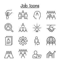 human resources icon set in thin lines style vector image