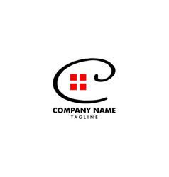 initial letter c house real estate logo design vector image