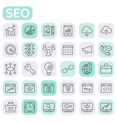Inline seo icons collection trendy linear icons vector