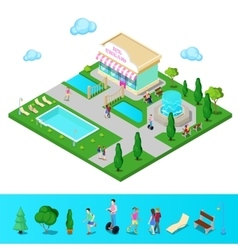 Isometric City Park with Swimming Pool vector image