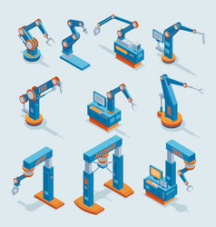 Isometric industrial factory automation elements vector