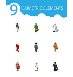 isometric people set of officer pedagogue guy vector image
