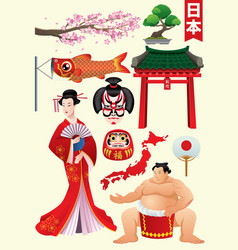 japan traditional character set vector image