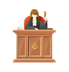 judge sitting behind desk court holding vector image