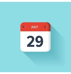 July 29 Isometric Calendar Icon With Shadow vector