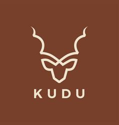 kudu head line outline logo icon vector image