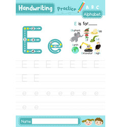 Letter e uppercase and lowercase tracing practice vector