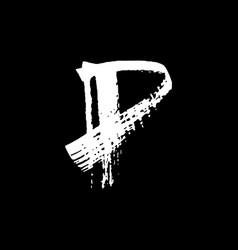 Letter p handwritten by dry brush rough strokes vector