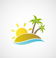 Logo beach with palm trees the ocean and the sun vector image