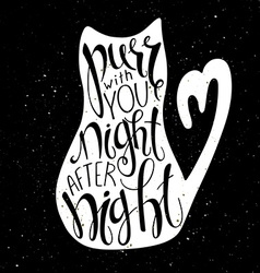 Love cat lettering Inspiration quote White vector