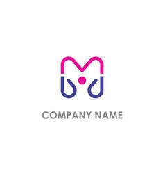m initial line company logo vector image