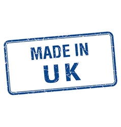 made in uk blue square isolated stamp vector image