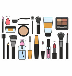Makeup tools icons vector
