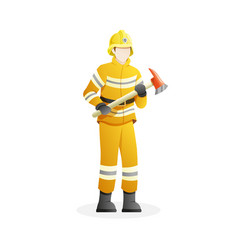 male firefighter holding an axes vector image