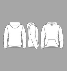 Male hoodie sweatshirt in front back and side vector