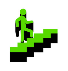 Man on stairs going up green 3d icon with vector